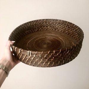 Dark Brown Wicker Basket Tray